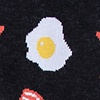 Black Carded Cotton Bacon & Eggs Sock