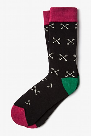 Crossed Arrows Black Sock