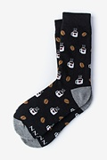 Black Carded Cotton Cup of Coffee Women's Sock