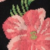 Black Carded Cotton Hibiscus Floral Sock