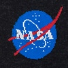 Black Carded Cotton Nasa Meatball Logo Sock