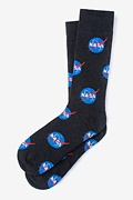 Black Carded Cotton Nasa Meatballs Sock