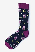 Black Carded Cotton Owl Night Long Sock