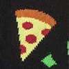 Black Carded Cotton Pizza Party Sock