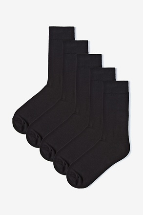 _Solid Black 5 Sock Pack_