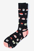 Black Carded Cotton Sushi Addict Sock