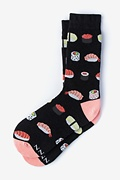 Black Carded Cotton Sushi Addict Women's Sock