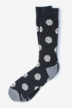 _Dungeons and Dragon Socks  | D&D | D20 Black Sock_