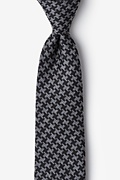 Black Cotton Tempe Extra Long Tie