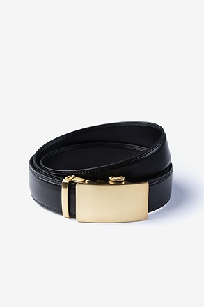 _Premium Leather Micro-Fit Slide Black Belt_