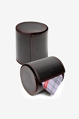 Black Leatherette Leatherette Gift Roll Tie Case