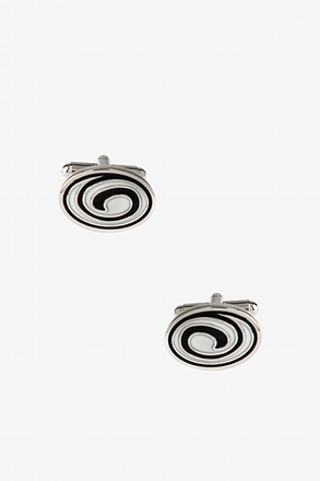 "_""Whirlpool Oval"" Black Cufflinks_"