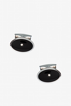 Beaming Dot Black Cufflinks