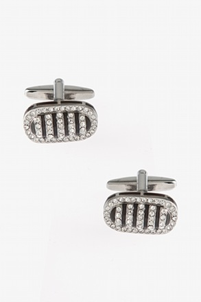 _Bedazzled Framed Bean Black Cufflinks_