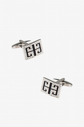 _Bejeweled Brackets Black Cufflinks_