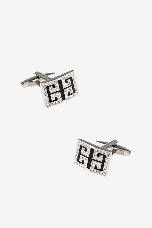 Bejeweled Brackets Black Cufflinks Photo (0)