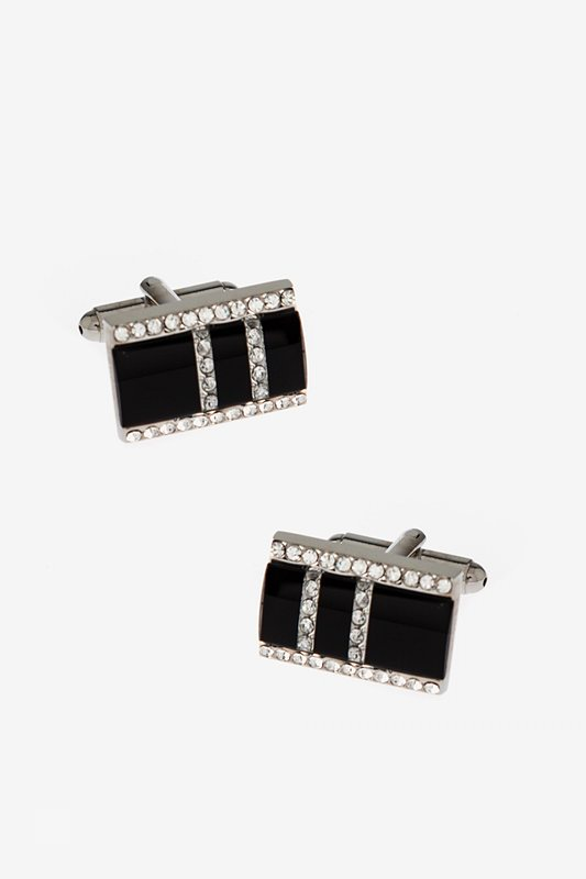 Cheap Bejeweled Double Stripes Cufflinks for cheap