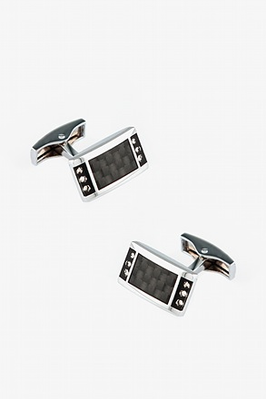 Bejeweled Futuristic Rectangle Black Cufflinks