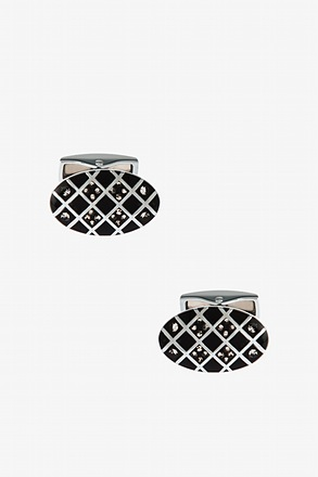 _Bejeweled Oval Argyle Cufflinks_