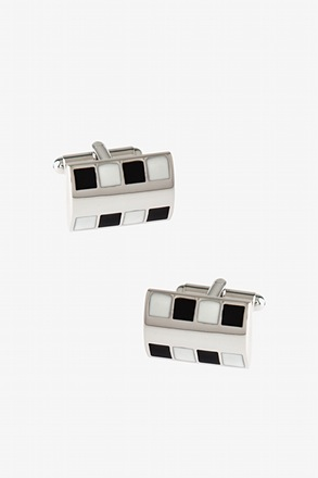 _Bejeweled Rounded Plate Black Cufflinks_