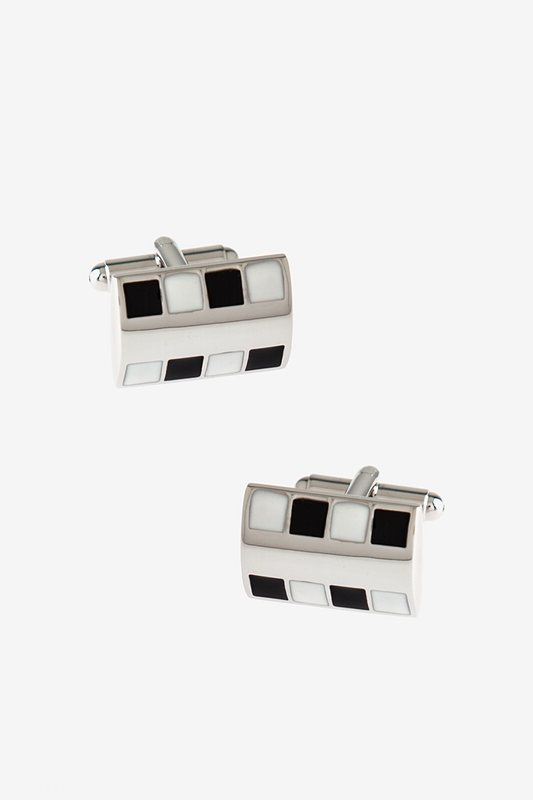 Bejeweled Rounded Plate Black Cufflinks Photo (0)