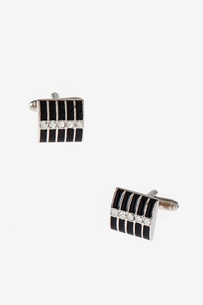 Bejeweled Striped Rectangle Cufflinks