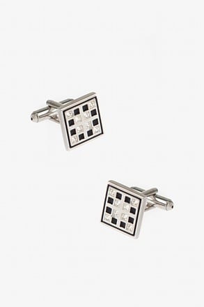 _Bejeweled Windowpane Black Cufflinks_