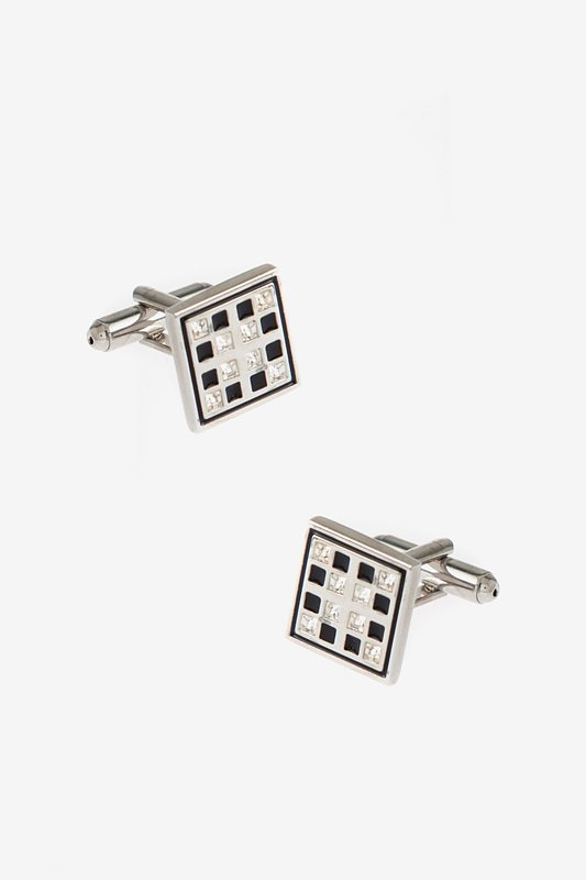 Bejeweled Windowpane Black Cufflinks Photo (0)