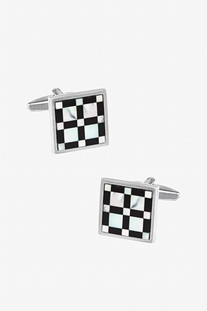 _Big and Little Check Black Cufflinks_