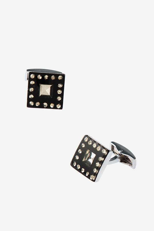 Boxed Rhinestones Black Cufflinks Photo (0)