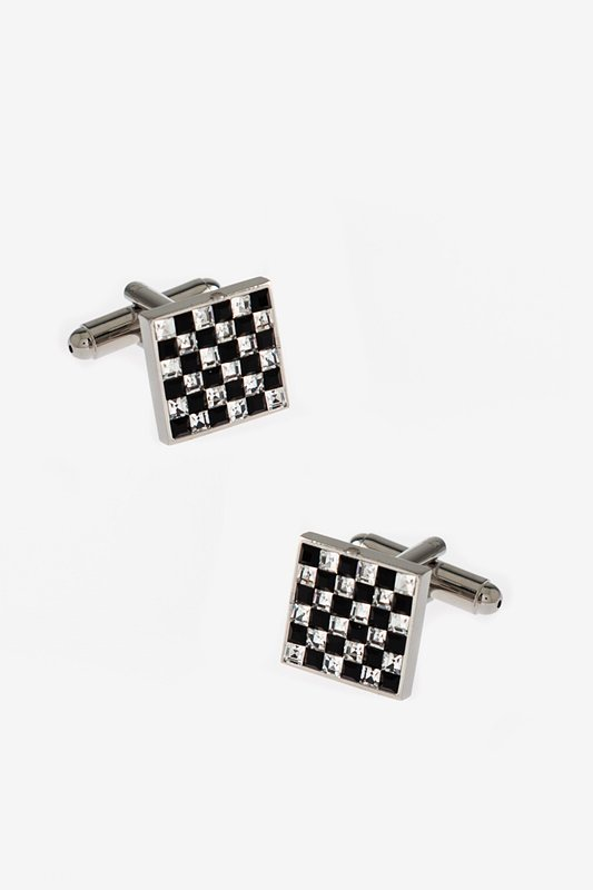 Checkered Bling Black Cufflinks Photo (0)