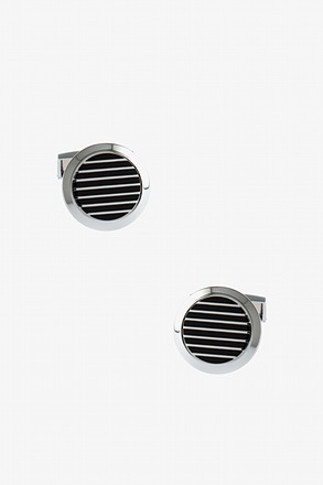 Chic Round Stripe Cufflinks