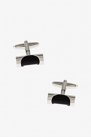 Clasped Bar Black Cufflinks