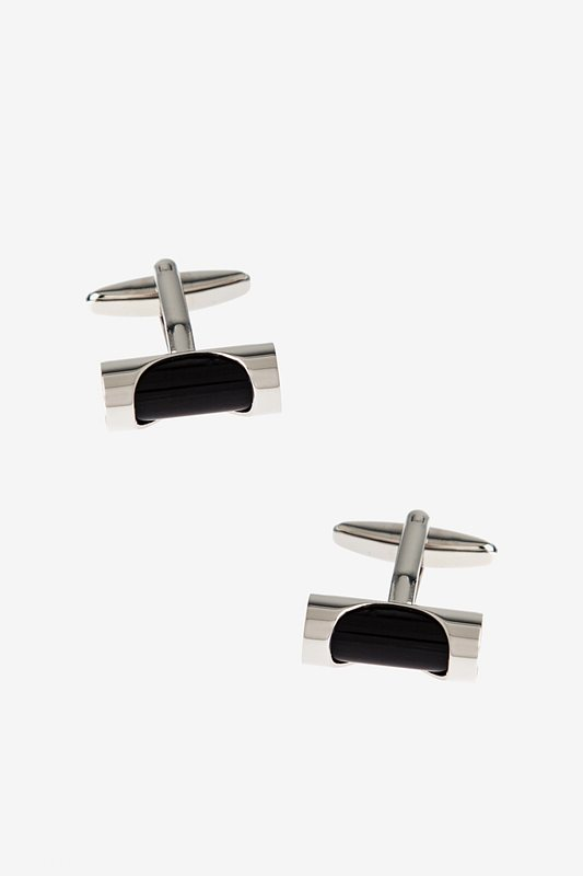 Clasped Bar Black Cufflinks Photo (0)