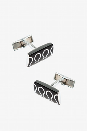_Curving Lines Black Cufflinks_