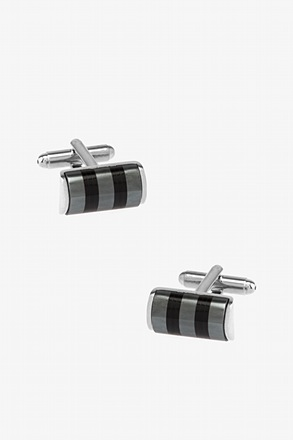 Cylinder Stripe Black Cufflinks