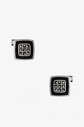 Decorated Square Black Cufflinks