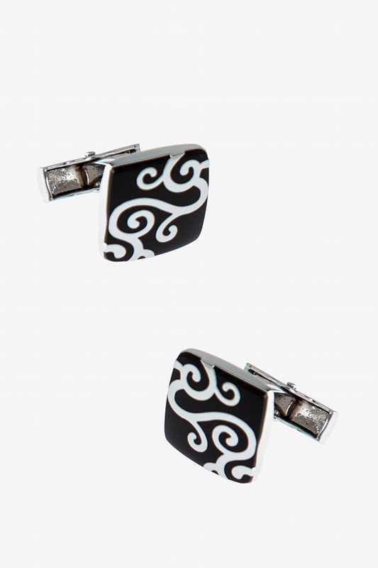 Decorated Square Black Cufflinks Photo (0)