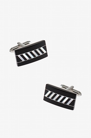 _Diagonally Striped Bar Black Cufflinks_