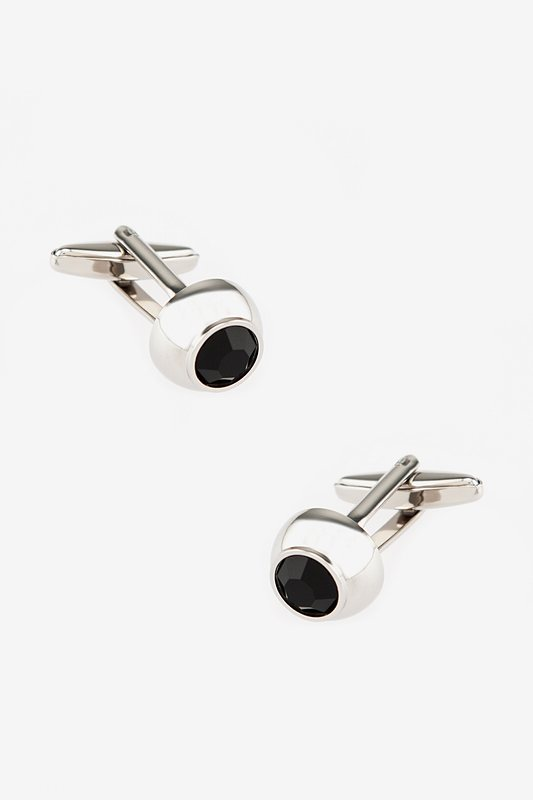 Embellished Dome Black Cufflinks Photo (0)