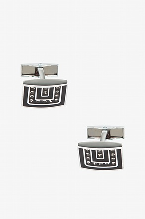 Embellished Maze Black Cufflinks