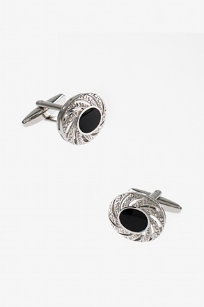 _Embellished Oval Black Cufflinks_