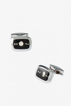 Enclosed Rhinestones Black Cufflinks