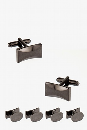 Faceted Rectangle Matte Cufflink & Stud Set