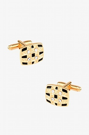 Fancy Rhinestone Check Cufflinks