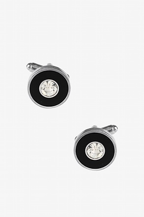 _Fancy Round Setting Black Cufflinks_