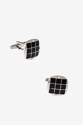 Flashy Oval Square Black Cufflinks