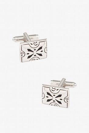 _Florence Rectangle Black Cufflinks_
