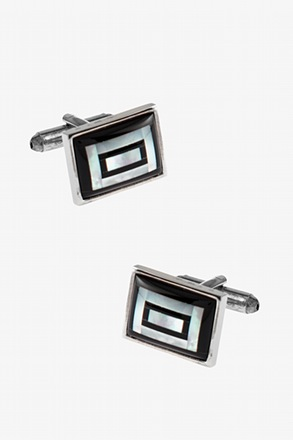 Framed Rectangular Mosaic Cufflinks