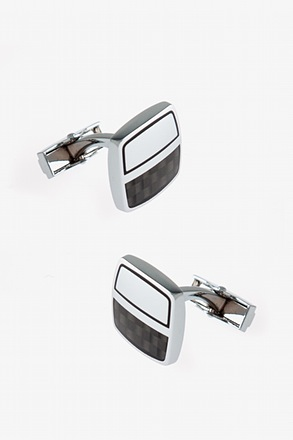 _Futuristic Half Square Black Cufflinks_